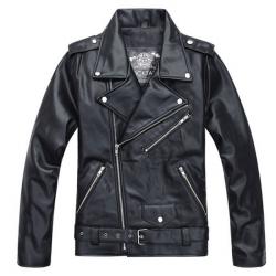 Motorcykel PU Leather Jakke Premium Fashion Retro Slim Mand Black