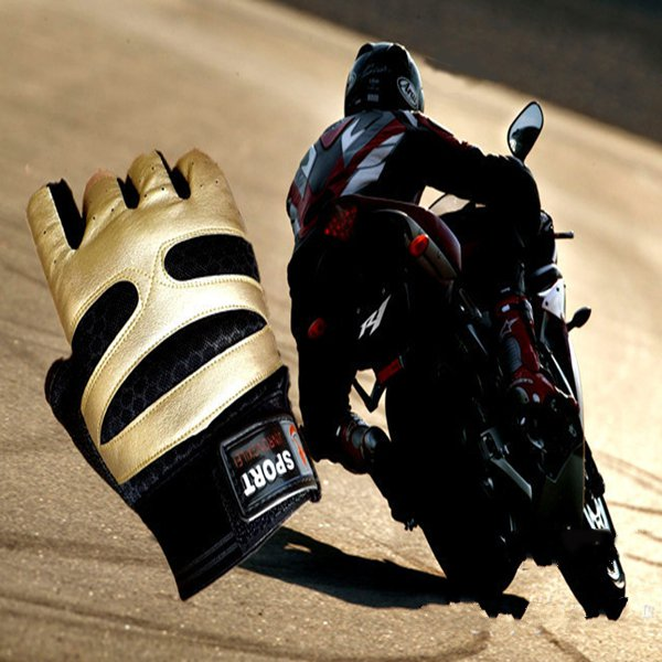 Motorcycle Riding Sports PU Half Finger Gloves Motorcycle
