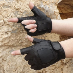 Motorcycle Riding Sports Tactical PU Half Finger Gloves