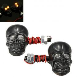 Motorcykel Skeleton Hoved Skull Blinklys Indikator 12V 0.5W
