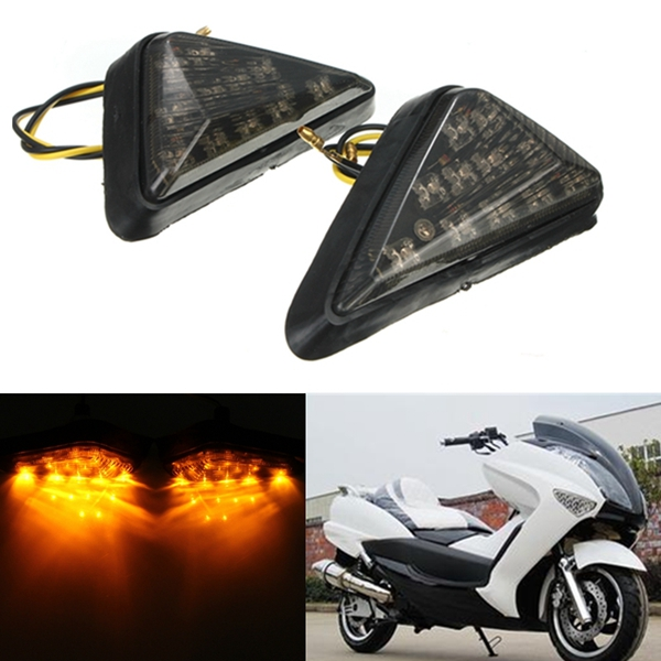 Motorrad Universal Dreieck Ebene Einfassung Blinker gelbe LED Left & Right Licht Motorrad