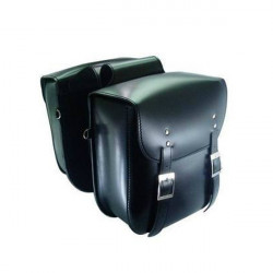 Pair Motorcycle Saddlebags Tool Bag Double Buckle Strap Black