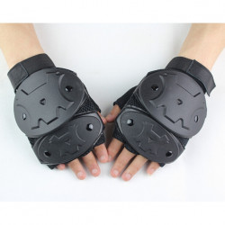 Tactical Half Finger Suede Leather Gloves Racing Climbing Outdoor Antiskid