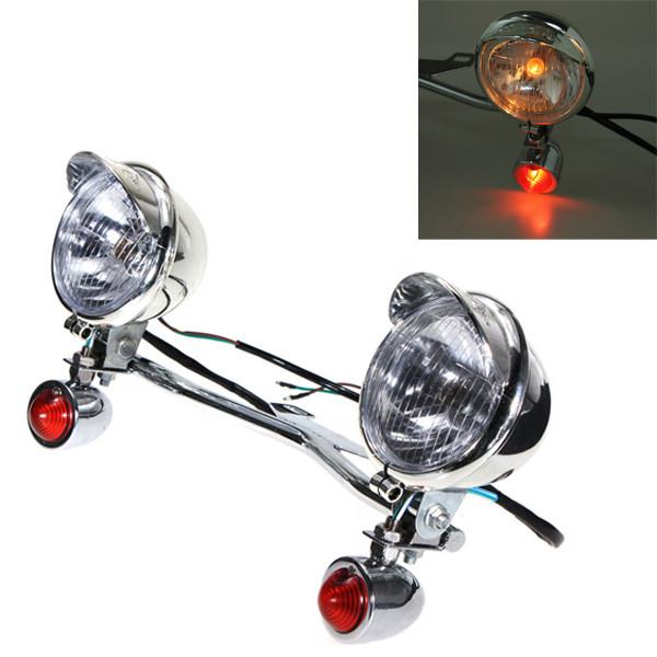 Vänd Ljus Spotlight Styre Halvljus för Harley-Davidson Honda Motorcykel