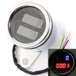 Universal 12V Motorcykel LED Digital Hastighetsmätare och Klocka Mätare
