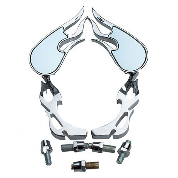 Universal Chrome 8mm 10mm Motorcycle Mirror Flame Motorcycle