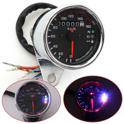 Universal Motorcykel LED Dual Vägmätare Test Mil Hastighetsmätare Mätare