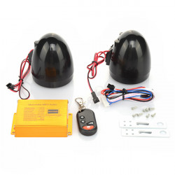 Waterproof Motorcycle HIFI Audio Remote Sound System Alarm SD USB MP3 FM
