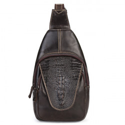 Crocodile Retro Genuine Leather Men Chest Pack Shoulder Bag