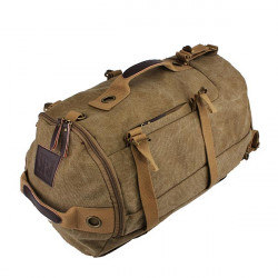 Dual-use Men's Canvas Hiking Camping Coffee Khaki Backpack