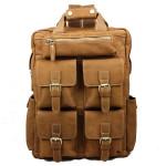 Echtes Leder Tasche Military Style Rucksack Mann Rind Rucksäcke Herrentaschen