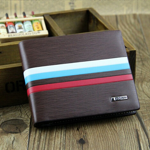 Män Läder Kreditkortshållare Bifold Kort Purse Plånbok Herrväskor