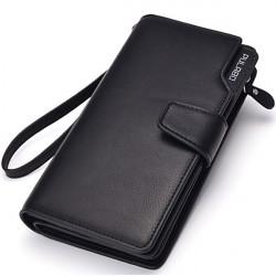 Männer Lange Brieftasche Reißverschluss Kreditkarten Handy Halter