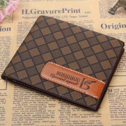 Männer Kurze Ledergeldbörse Vintage Handtasche Geld Kasten Kartenhalter kariertes Muster