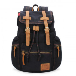 Men Vintage Rucksack School Bag Satchel Canvas Backpack Hiking Bag