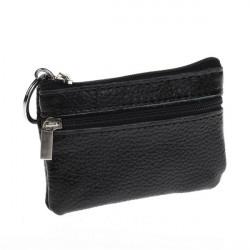 Män Kvinnor Hållbar Läder Zipper Börs Mini Plånbok Key Väska