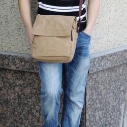 Herren Schwarz Khaki Segeltuch Schulter Crossbody Beutel für iPad
