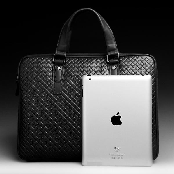 Herren Business Lederhandtasche Zipper mit Prägung Schwarz Horizontal Herrentaschen
