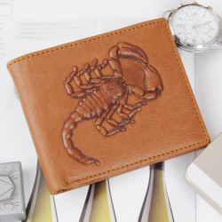 Herren Rindsleder Geldbörse Short Scorpion Muster 2 Falte Geldbörsen