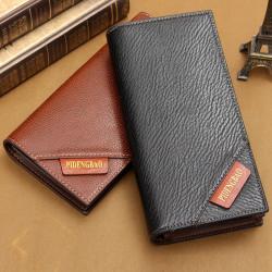 Mens Long PU Læder Tegnebog Mode Kreditkort Holder Bifold Pung