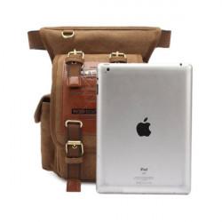 Men's Retro Canvas Messenger Waist Leg Bag Travel Crossbody Bags
