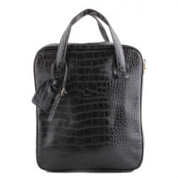 Mens Women Casual Solid PU Leather Grid Pattern Black Brown Handbags