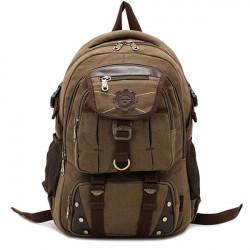 Nieten Reißverschluss Mann Rucksack Reisetaschen Leinwand im Freien Gepäcktasche