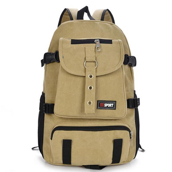 Strap Zipper Solid Casual Bag Male Rygsæk Skoletaske Herretasker