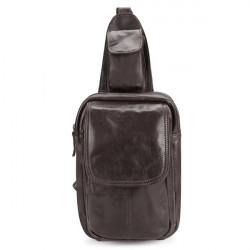 Vintage Retro echtes Leder Rindleder Männer Brusttasche Umhängetasche