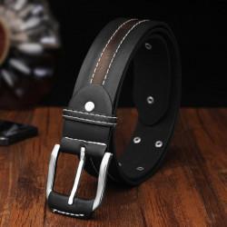 110CM Men PU Leather Classic Stylish Rivet Pin Buckle Belt