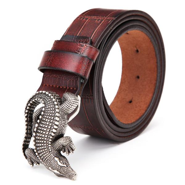 120cm Män Bälte Peritoneal Andra Lager Läder Alligator Crocodile Spänne Jeans Strip Herrkläder