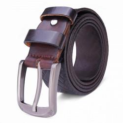 125CM Men's Belt First Layer Cowhide Woven Grain Buckle Strip