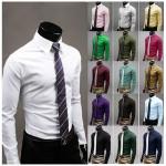 17 Färger Mode Unik Halsen Män Slim Långärmad Klänning Shirt Herrkläder