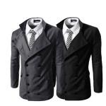 2014 Schwarz Herren Zweireiher Stehkragen Anzüge Mantel Herrenbekleidung
