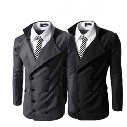 2014 Black Mens Double-Breasted Stand Collar Suits Coat