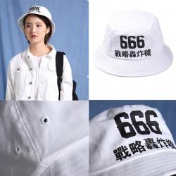 666 Broderi Fiskare Keps Vit Bomull Bucket Fiske Boonie Hat