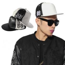 88 Broderi PU Snapback Basebollkeps Justerbar Hip Hop Hat