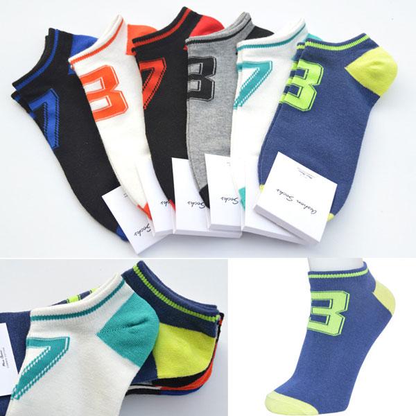 A.E.SHON Herren Trainer Socken Mode Lucky Numbers weiche Socken Gedruckt Herrenbekleidung