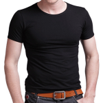 A&S Men's Slim Crew Neck Solid Cotton Short Sleeve Tee T-shirt Men's Clothing
