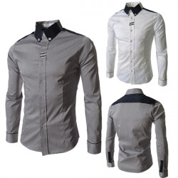 Amurs&superb  Korean Slim Men's  Fashion Long-sleeved Webbing Shirts