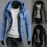Arm Reißverschluss Entwurf Multi Pocket Männer hohe Kragen dünne Mantel Jacke Herrenbekleidung
