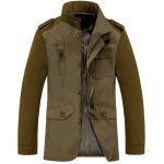 Army Grön Jacka 95% Bomull Ytterkläder Mode Män Kläder Herrkläder