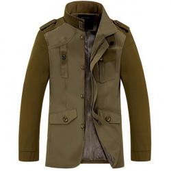 Army Grön Jacka 95% Bomull Ytterkläder Mode Män Kläder