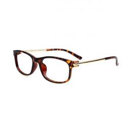 Black Frame Spectacles Retro Metal Leg Leapard Frame Eyeglasses