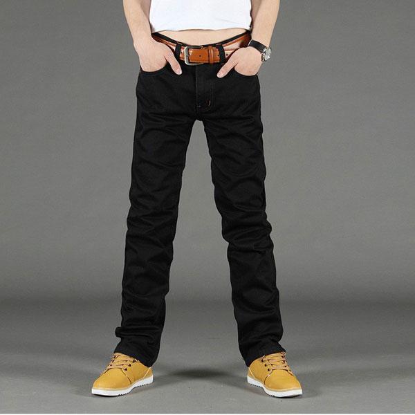 Black Jeans Mens Straight Casual Jeans Slim Fit Pants Men's Clothing