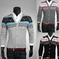 Chrismas Men's Slim V-neck Printed Sweater Knitwear Cardigan Jacket