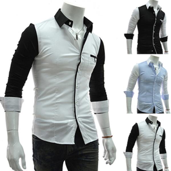 Kontrast Färg Fritid Slim Fit Män Bomull Långärmad Skjorta Herrkläder
