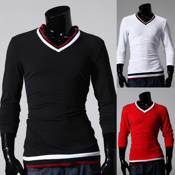 Fahion Kragen Dekoration V Ausschnitt Männer lange Hülsen dünne T Shirt Herrenbekleidung