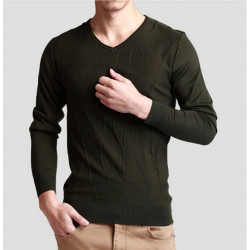 Mode Casual Ull V-Neck Män Sweater Pullover Stickat