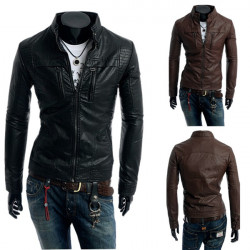 Fashion Cool Autumn Winter Men's PU Leather Motorcycle Jacket